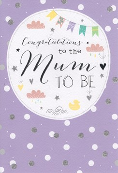 "ICG Congratulations Mum To Be Greetings Card - Clouds, Bunting & Hearts 9"" x 6"""