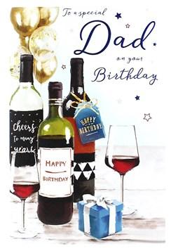 "ICG Dad Birthday Card - Red Wine Bottles, Gold Balloons & Little Present 9"" x 6"""