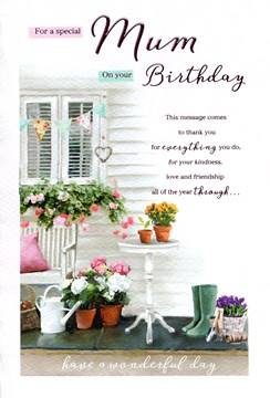 "ICG Mum Birthday Card - Flowers, Plant Pots, Wellies, Table & Bunting 9"" x 6"""