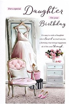 """ICG Daughter Birthday Card - White Dress, High Heels, Chair & Pink Roses 9"""" x 6"""""""