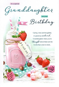 "ICG Granddaughter Birthday Card - Milkshake, Marshmallows & Pink Roses 9"" x 6"""