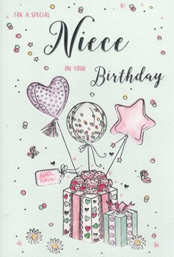 """ICG Niece Birthday Card - Balloons and Presents with Silver Foil 9"""" x 6"""""""