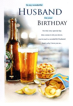 "ICG Husband Birthday Card - Beer Bottle, Pint, Packet Of Crisps & Nuts 9"" x 6"""