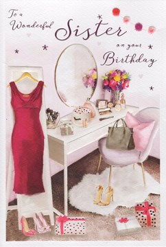 """ICG Sister Birthday Card - Pink Dress Dressing Table and Pink Foil 9"""" x 6"""""""