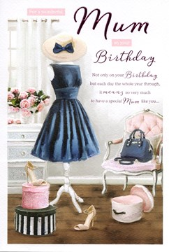 "ICG Mum Birthday Card - Blue Dress, Handbag, High Heels & Pink Roses 9"" x 6"""