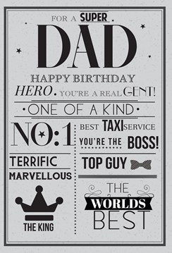 "ICG Dad Birthday Card - Navy Blue & Gold Metallic Best Dad Catchphrases 9"" x 6"""