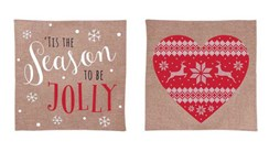 Set Of 2 Hessian Christmas Cushion Covers - Cushions Not Included - 2 Designs