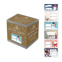 Pack Of 80 Silver Foil Self Adhesive Christmas Gift Labels - 6 Assorted Designs