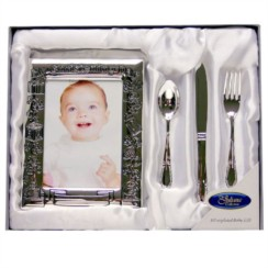 "Juliana Silver Plated Christening Day Photo Frame & Cutlery Gift Set 9"" x 11"""