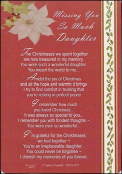 "Loving Memory Christmas Graveside Memorial Card - Missing You Daughter 6"" x 4"""