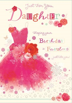 "Daughter Birthday Card - Hot Pink Dress, Red Roses & Butterflies 9.75"" x 6.75"""