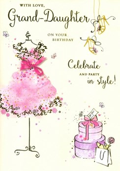 Granddaughter Birthday Card - Pink Dress with Gold Foiled Heels & Text 9.75x7""