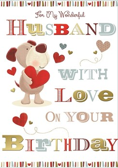 """Husband Birthday Card - Bear & Hearts With Foiled Detail  10"""" x 7"""""""
