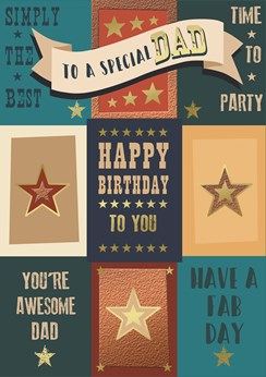 "Dad Birthday Card - Bold Text, Turquoise Squares & Tiny Gold Stars 9.75"" x 6.75"""
