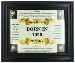 2020 90 Today Happy Birthday Print & Black Photo Frame - 1930 Was A Special Year