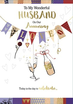 "Husband Wedding Anniversary Card - Champagne, Hearts & Bunting 9.75"" x 6.75"""