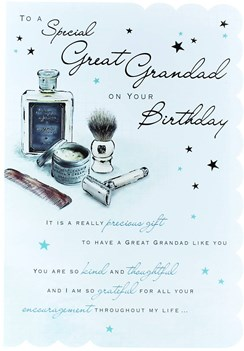"Goldmark Great Grandad Birthday Card - Aftershave, Razor & Brown Comb 9"" x 6.25"""