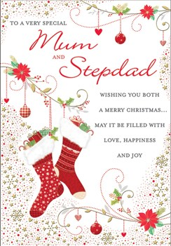 """Mum and Stepdad Christmas Card - Stockings Gold Foil Snowflakes 9"""" x 6.5"""""""