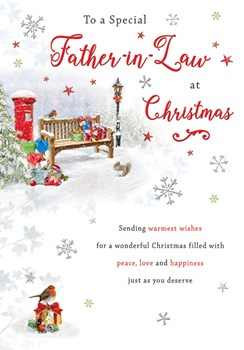 Father-in-law Christmas Card - A Bench & Postbox In The Snow With Foil  9x6.25""