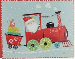 "Christmas Advent Calendar - Santa Claus in Train with Presents 9.75"" x 8"""