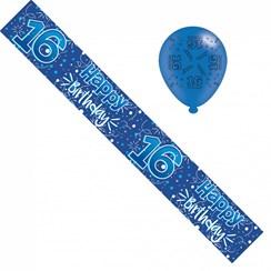 Age 16 Boy Birthday Foil Party Banner & Balloons - Happy 16th Birthday