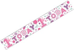 Age 1 Girl Foil Party Banner 1st Birthday - 1 Today Pink Lilac Giraffe