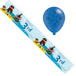 Age 3 Boy Birthday Foil Party Banner & Balloons -  3 Today