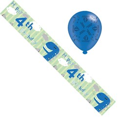 Age 4 Boy Birthday Foil Party Banner & Balloons - Happy 4th Birthday