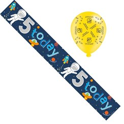 Age 5 Boy Birthday Foil Party Banner & Balloons - Happy 5th Birthday