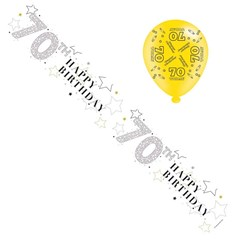 Age 70 Unisex Foil Party Banner & Balloons -  Happy 70th Birthday - Silver Stars
