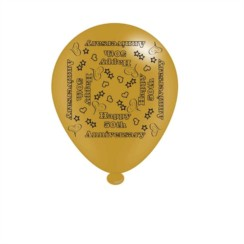 Pack Of 8 Gold Happy 50th Anniversary Latex Party Balloons - Air Fill or Helium
