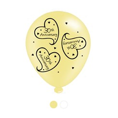 Pack Of 8 Cream Happy 30th Anniversary Latex Party Balloons - Air Fill or Helium