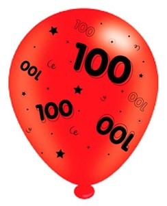 Pack Of 8 Multicoloured 100th Birthday Air Fill/Helium Party Balloons - Age 100