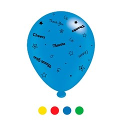 Pack Of 8 Multicoloured Thank You Latex Party Balloons - Air Fill or Helium