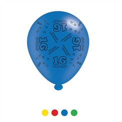 Pack Of 8 Multicoloured 16th Birthday Air Fill/Helium Party Balloons - 16 Today