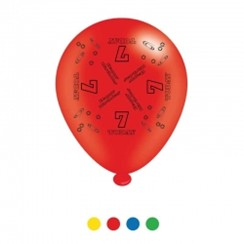 Pack Of 8 Multicoloured 7th Birthday Air Fill or Helium Party Balloons - 7 Today