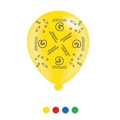 Pack Of 8 Multicoloured 9th Birthday Air Fill or Helium Party Balloons - 9 Today