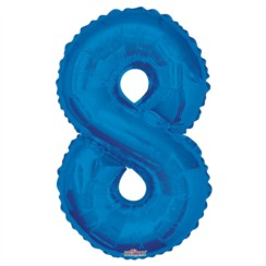 """Large Jumbo Blue Metallic Number 8 Foil Helium Balloon 34""""/87cm (Not Inflated)"""