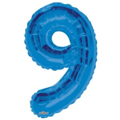 """Large Jumbo Blue Metallic Number 9 Foil Helium Balloon 34""""/87cm (Not Inflated)"""