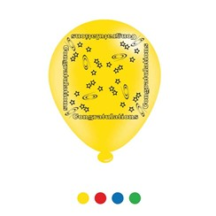 Pack Of 8 Multicoloured Congratulations Latex Party Balloons - Air Fill/Helium