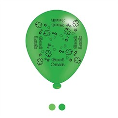 Pack Of 8 Multicoloured Good Luck Latex Party Balloons - Air Fill or Helium