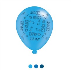 Pack Of 8 Blue It's A Boy Air Fill/Helium Latex Party Balloons