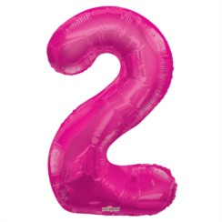 "Large Jumbo Pink Metallic Number 2 Foil Helium Balloon 34""/87cm (Not Inflated)"