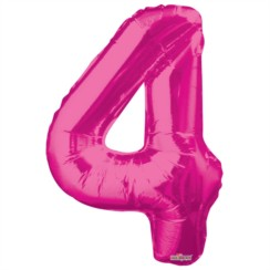 "Large Jumbo Pink Metallic Number 4 Foil Helium Balloon 34""/87cm (Not Inflated)"