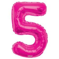 "Large Jumbo Pink Metallic Number 5 Foil Helium Balloon 34""/87cm (Not Inflated)"