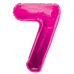 "Large Jumbo Pink Metallic Number 7 Foil Helium Balloon 34""/87cm (Not Inflated)"