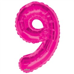 """Large Jumbo Pink Metallic Number 9 Foil Helium Balloon 34""""/87cm (Not Inflated)"""