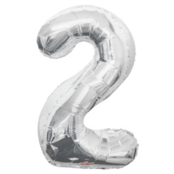 "Large Jumbo Silver Metallic Number 2 Foil Helium Balloon 34""/87cm (Not Inflated)"