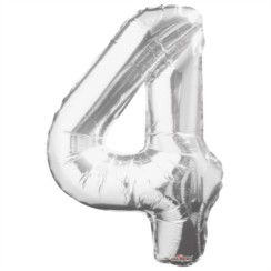 """Large Jumbo Silver Metallic Number 4 Foil Helium Balloon 34""""/87cm (Not Inflated)"""