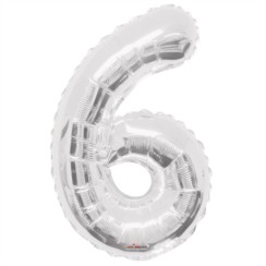 """Large Jumbo Silver Metallic Number 6 Foil Helium Balloon 34""""/87cm (Not Inflated)"""